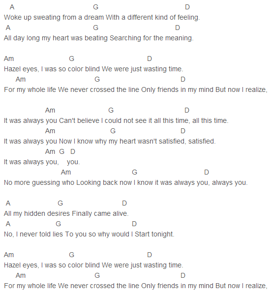 flirting signs he likes you will lyrics chords guitar