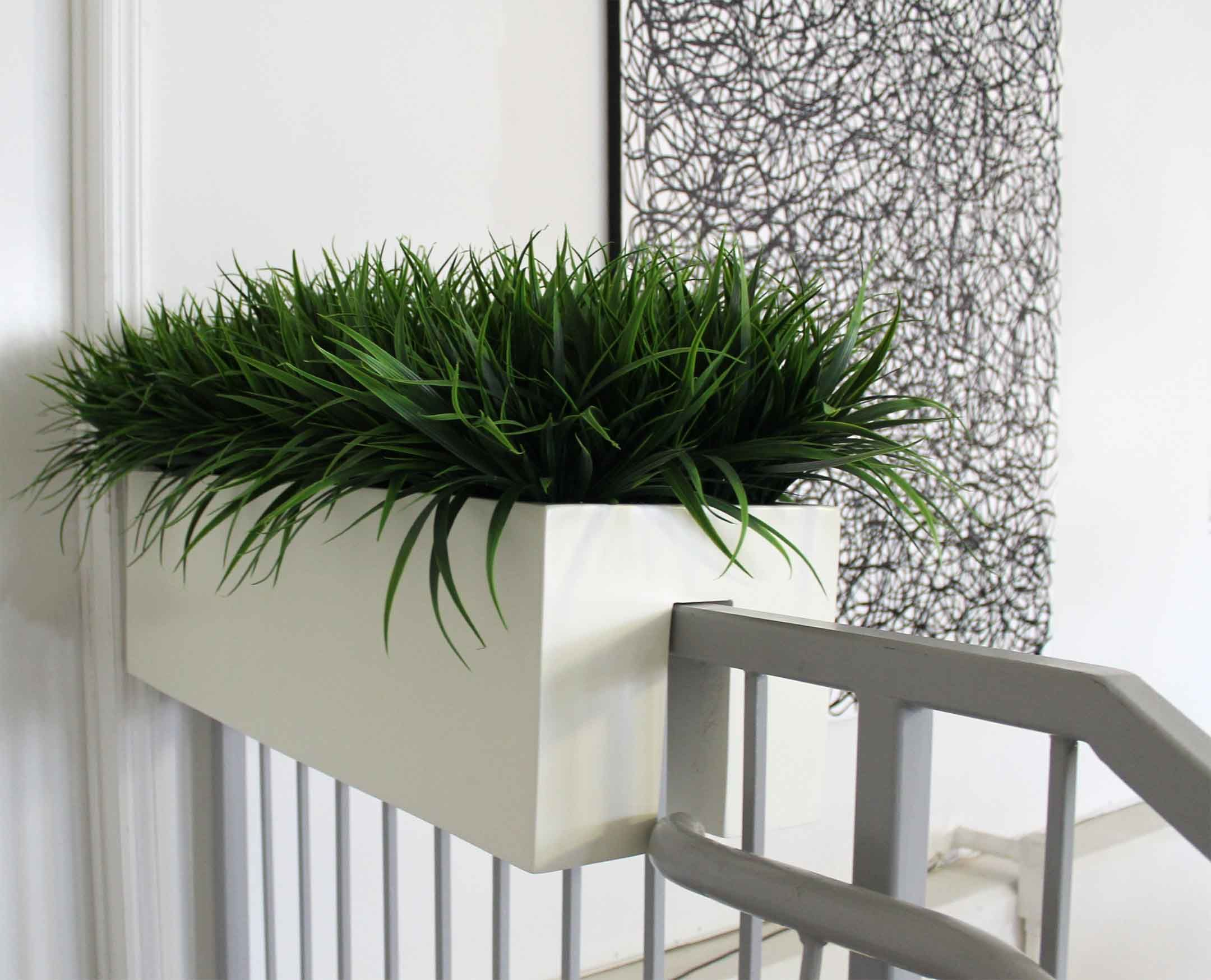 Superior Garden Landscaping, Simple Model And White Color Plus Middle Size For Planter  Design On Casual Railings Closed White Wall Paint And Abstract Wall Art  Decor ...