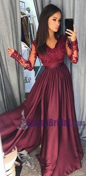 Charming Long Sleeves V neck Top Lace Chiffon Navy Grey Burgundy Prom Dresses, Evening dress, PD0668 #lacechiffon