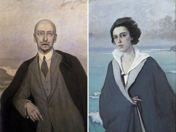 Un ritratto di D'Annunzio fatto dalla Brooks e, a destra, un autoritratto della Brooks