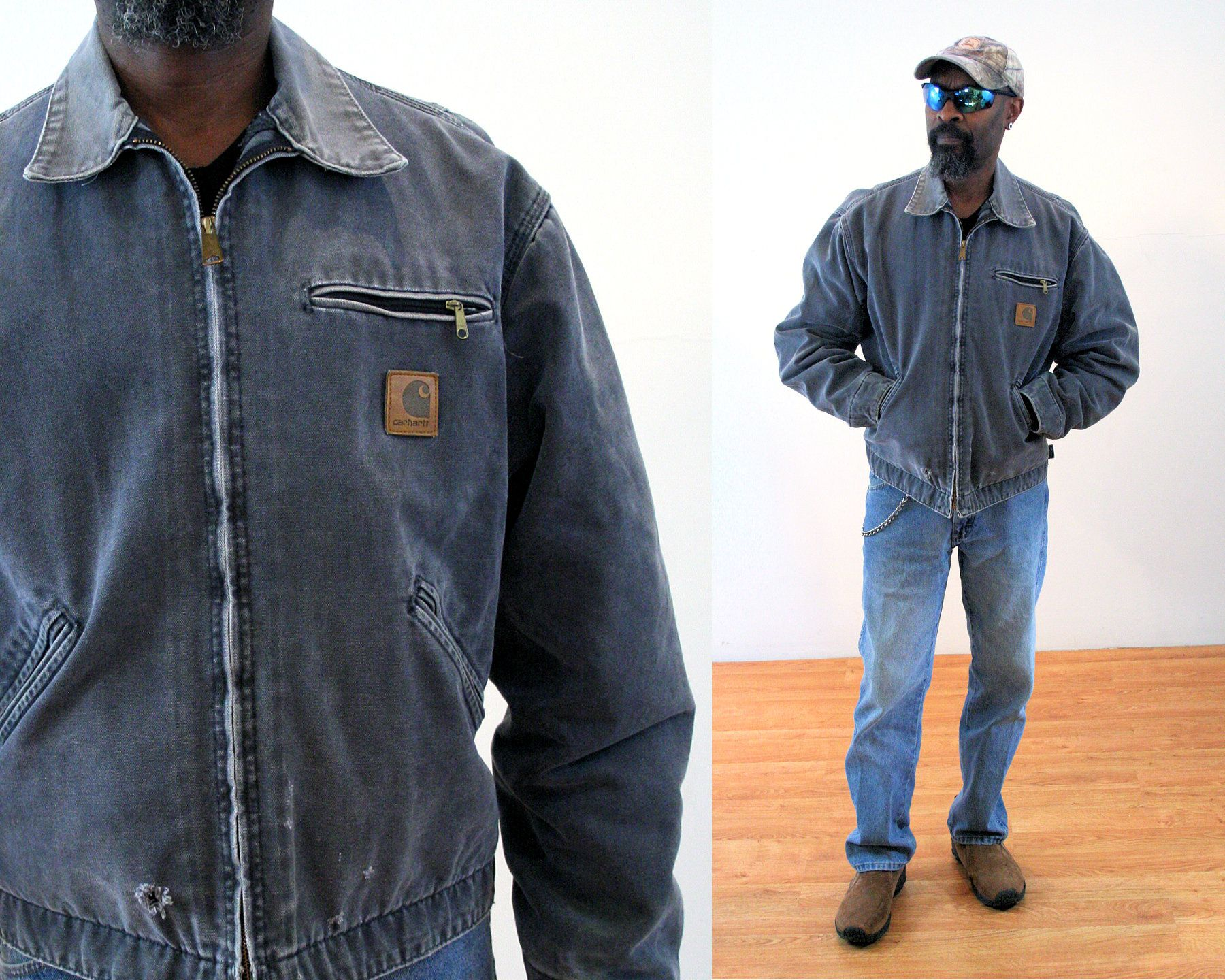 80s Carhartt Jacket L Gray Blanket Lined Heavy Duty Vintage Workwear Chore Coat Large Carhartt Jacket Vintage Flannel Shirt Jackets [ 1440 x 1800 Pixel ]
