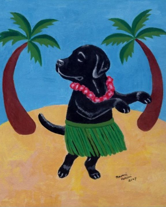 Aloha Black Labrador Art Print