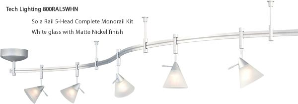 Tech Lighting 800ral5mk Spire Complete 5 Head Monorail Kit Monorail Systems Deep Discount Lighting Track Lighting Kits Lighting Discount Lighting
