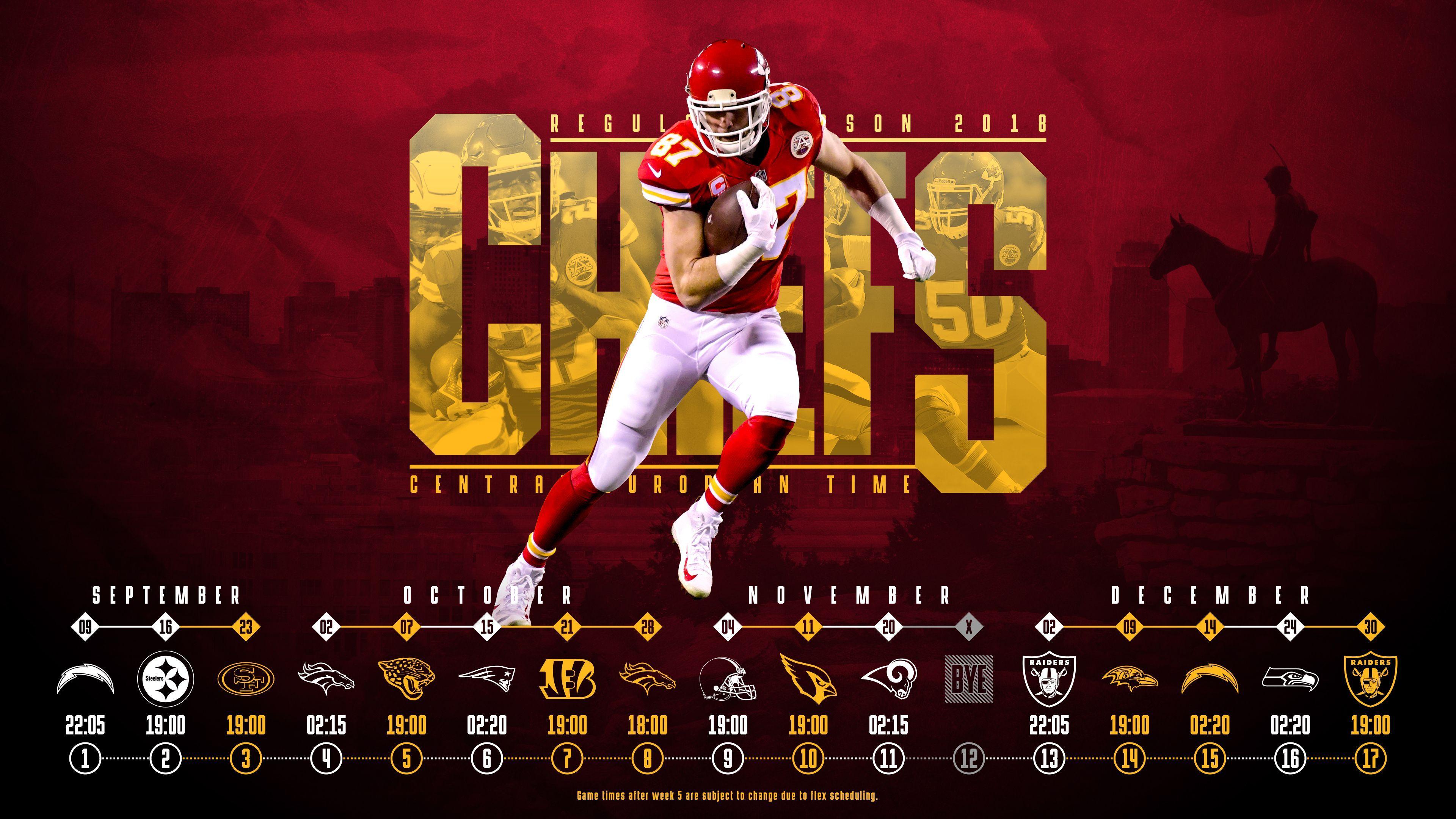 Schedule Wallpaper For The Kansas City Chiefs Regular Season 2018 Central European Time Made By Tobler Gergo Tgers Kansas City Chiefs Nfl Football Kc Chiefs