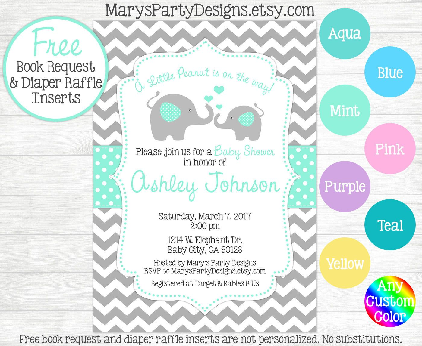 Elephant Baby Shower Invitation - Aqua Blue Mint Teal Boy Girl ...