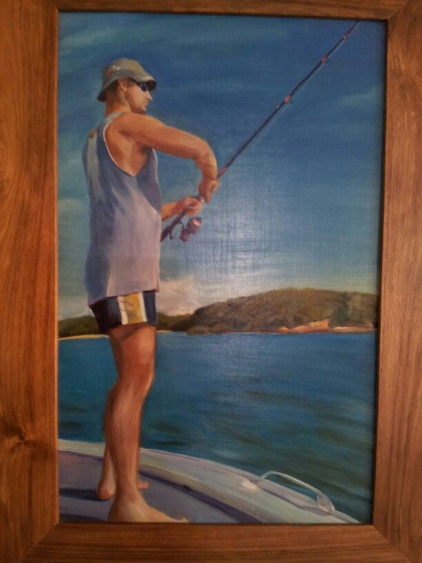 Fishing at Moreton Island Oil painting