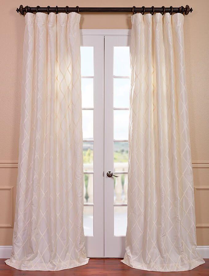Alexandria Off White Taffeta Faux Silk Curtain Efsch Al450c2 108