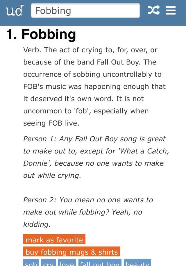 Urban Dictionary Knows What S Up Fall Out Boy Fobs My Chemical Romance