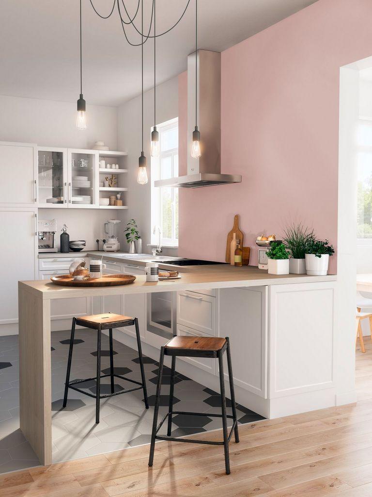 Des idées pour oser une cuisine rose poudré  Amenagement cuisine