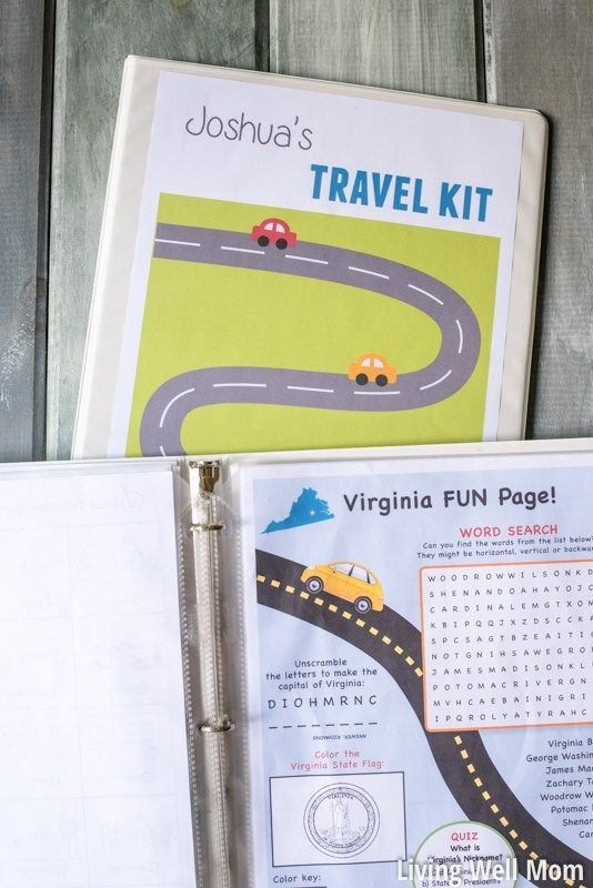 DIY Kids' Travel Binder + Free Printable Road Trip Games is part of Printable road trip games, Road trip hacks, Road trip activities, Kids travel activities, Road trip games, Travel activities - Try this easy DIY activity travel binder and free printable games for your next road trip and turn a long drive into fun family time for kids and adults