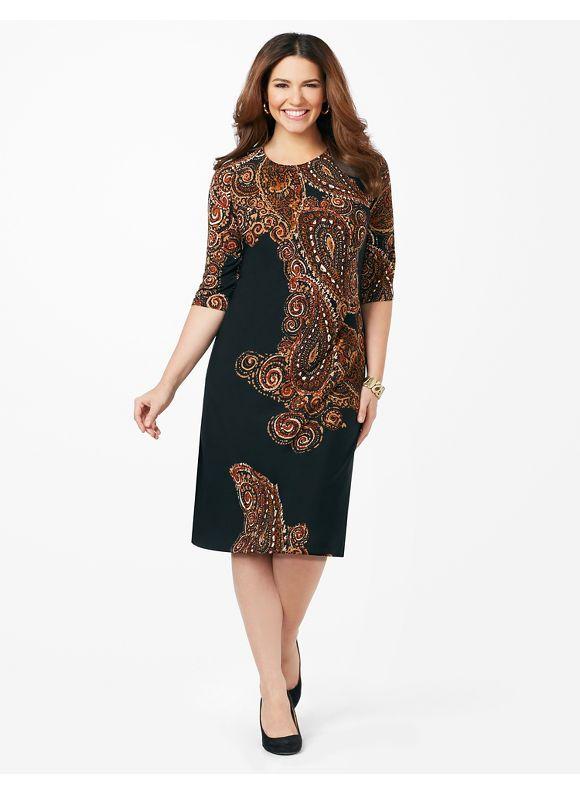 Plus Size Paisley Isle Dress Catherines Womens Size 1x 0x Coffee