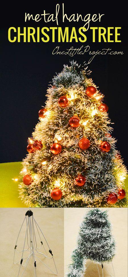 Diy Wire Hanger Christmas Tree Tutorial Hanger Christmas Tree Outdoor Christmas Tree How To Make Christmas Tree