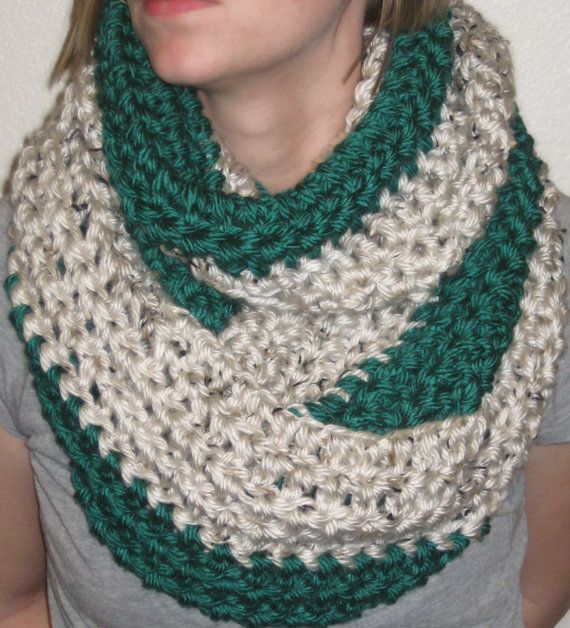 2 Color Crochet Infinity Scarf Pattern Chunky Two Tone Crochet