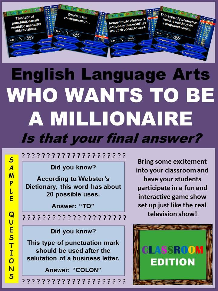 Classroom Millionaire Trivia Game  English Language Language