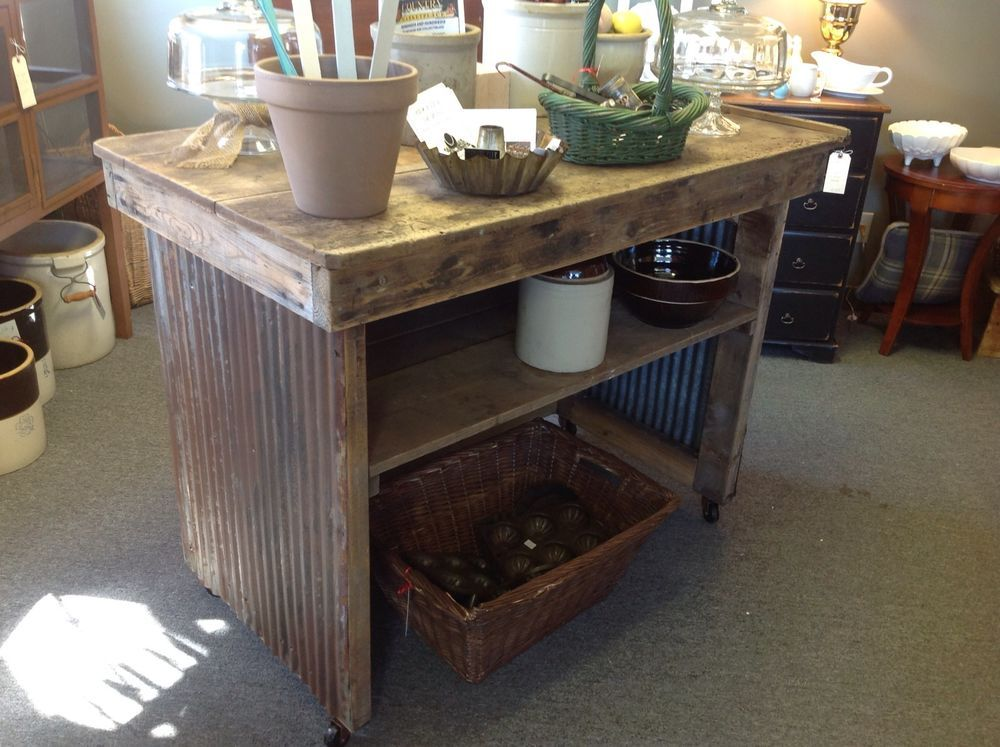 Primitive Kitchen Island Repurposed From Old Factory