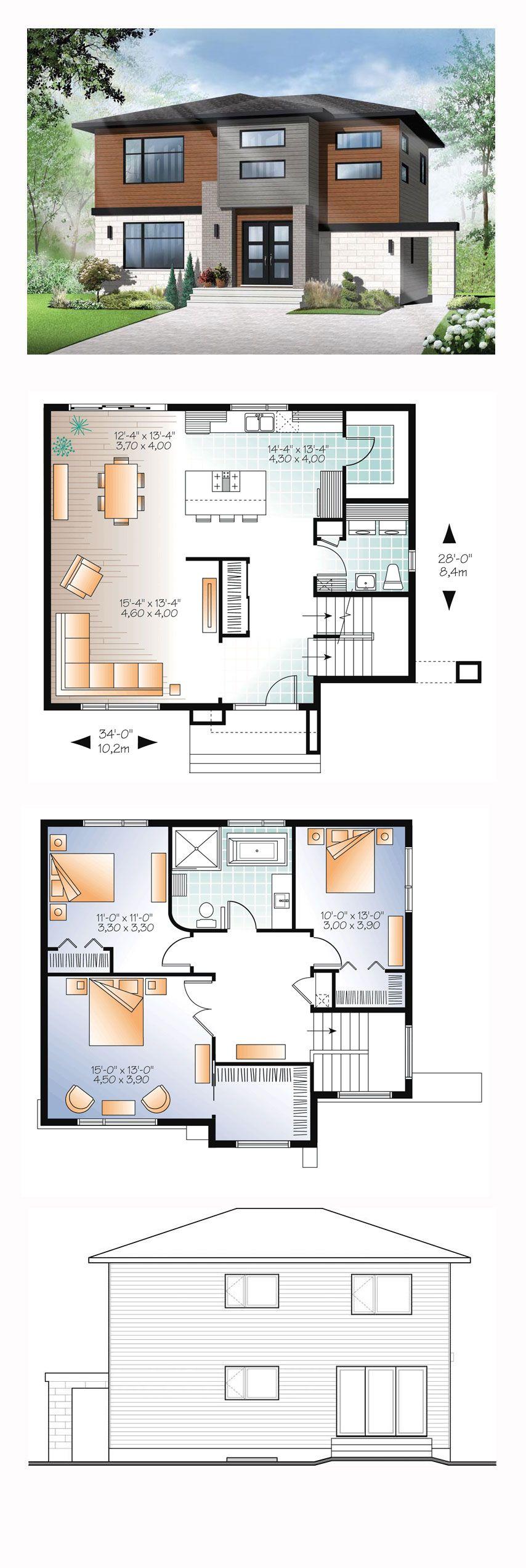 Contemporary modern house plan 76368