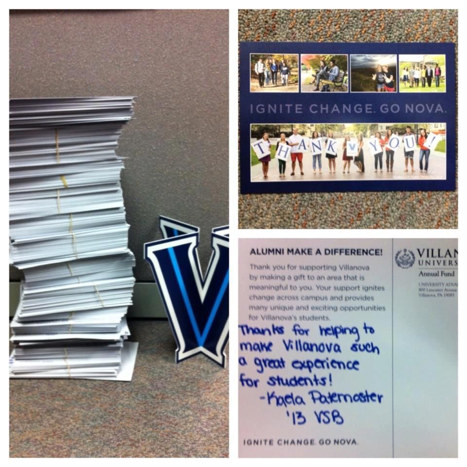 Villanova University thank you cards for donor
