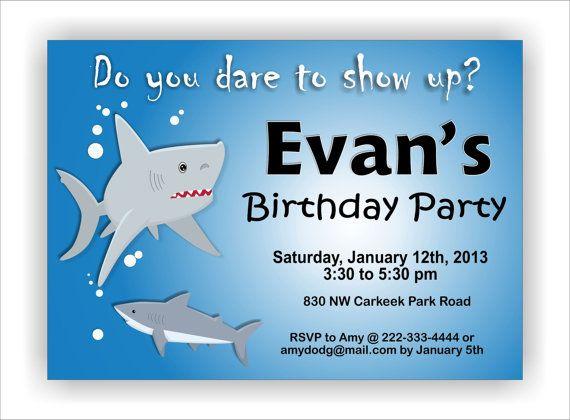 Ocean shark themed birthday party invitation Digital by kasefazem – Ocean Party Invitations