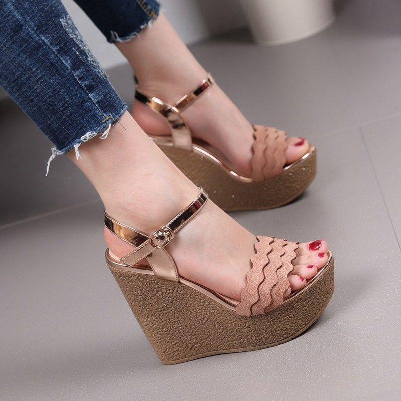 Womens Ladies 12Cm Wedge High Heels Pumps Dress Shoes Size 4.55678 Pink/Black Us