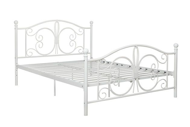 The Bombay Full Metal Bed Harkens Back To The Elaborately Detailed Furniture Of The British Colonial Era Charming With Wh White Metal Bed Metal Beds Bed Frame White metal full size bed
