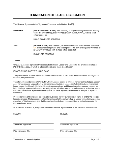Termination Of Lease Obligation Template & Sample Form