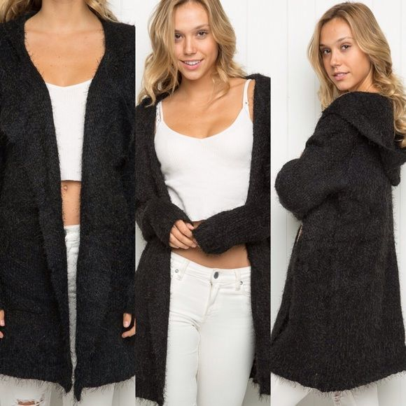 Brandy melville one size fuzzy hooded cardigan | Brandy melville ...