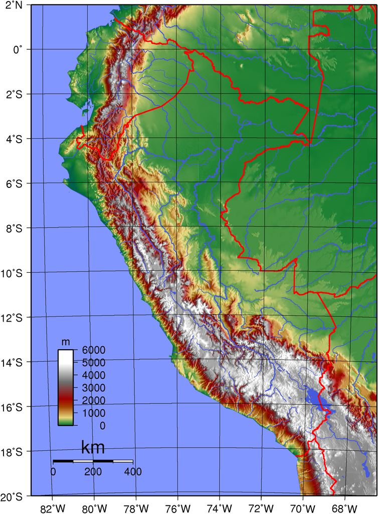 Topographic map of Peru Every Country has a Story JR Pinterest