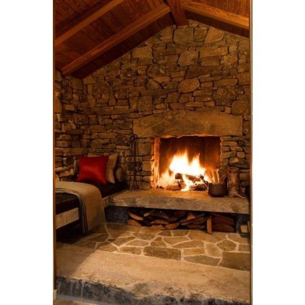 Cozy Rustic Living Room Fireplaces: Very Cozy Living Room Liked On Polyvore Featuring Home And