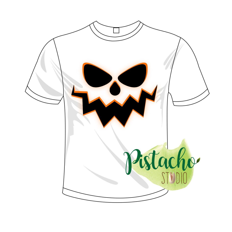 Scary Halloween Horror Pumpkin Face iron on Digital file