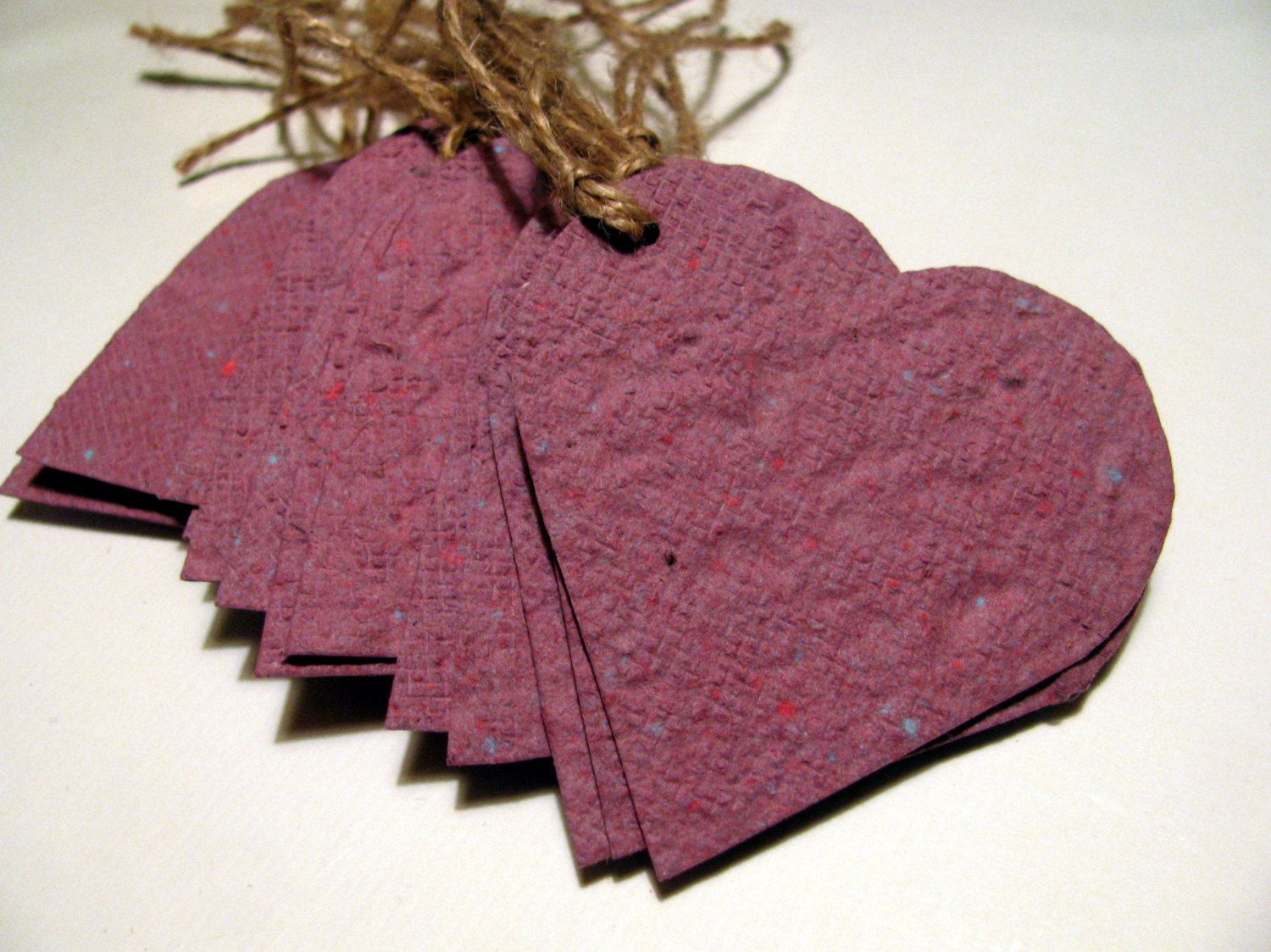 Wedding Favor Mauve Heart Shaped Plantable Paper Gift Tags Embedded ...