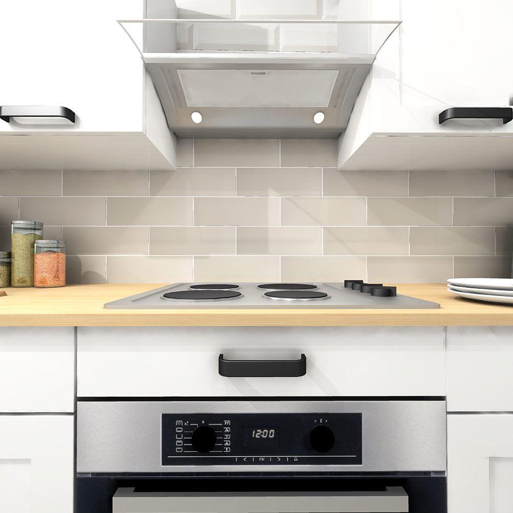 Linear Light Grey Gloss Brick Tiles Kitchen Wall Tiles