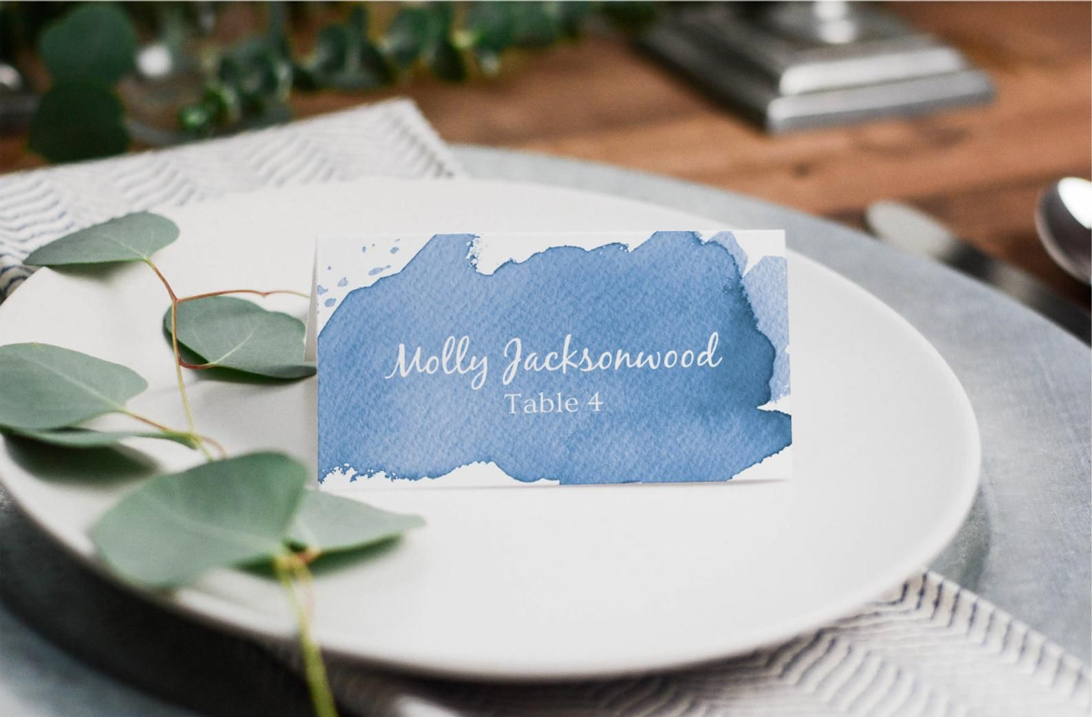 Placecard Template Blue Watercolor Editable Wedding Etsy In 2021 Place Card Template Wedding Table Name Cards Place Cards