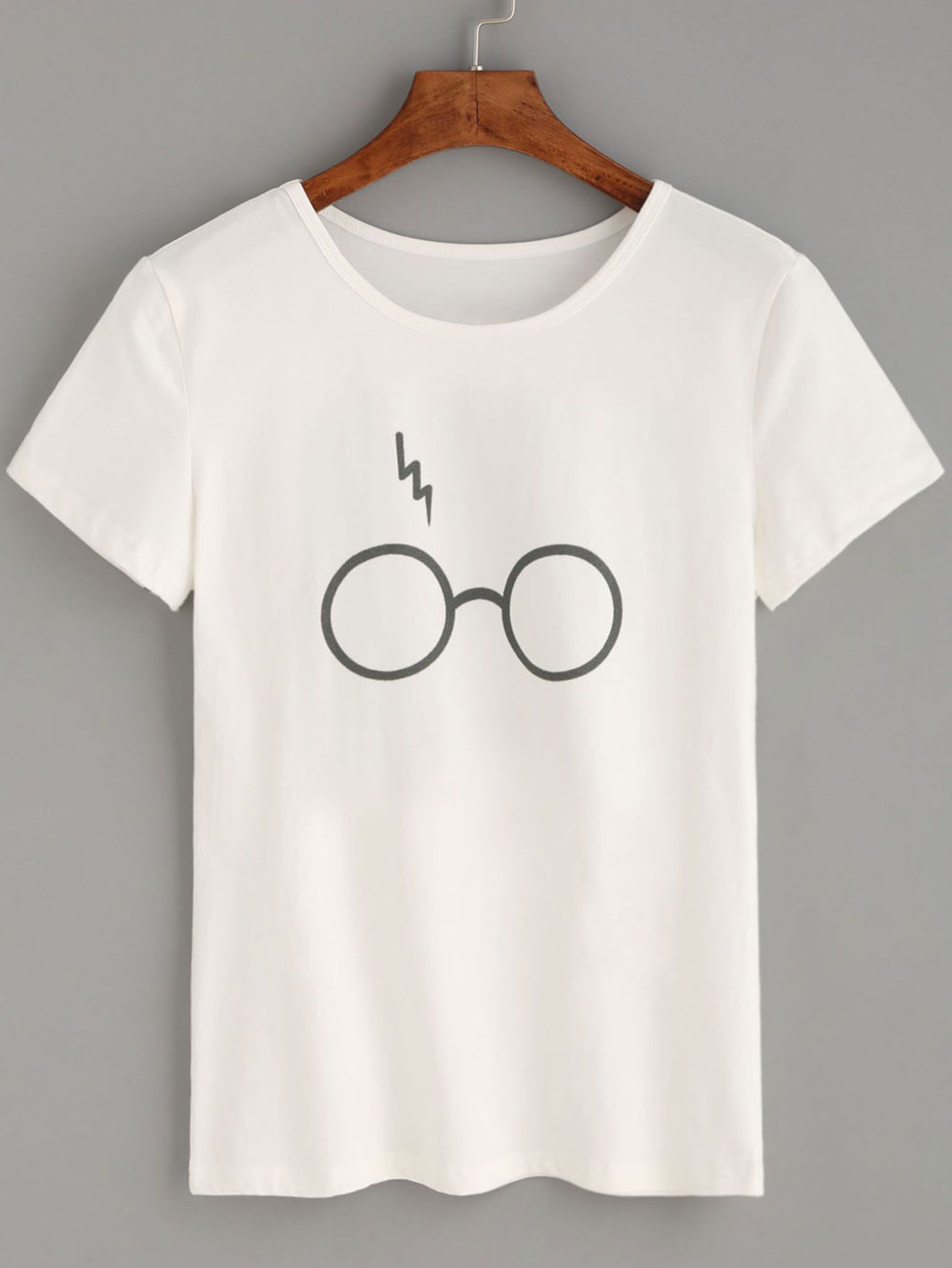 c0144c56 Shop White Glasses Lightning Print T-shirt online. SheIn offers White Glasses  Lightning Print T-shirt & more to fit your fashionable needs.