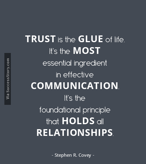 One Of The Most Vital Aspects Of Leadership Is Trust Read Stephen