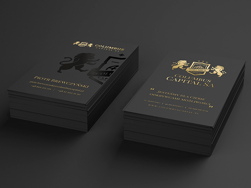 Black business card w/ gold and coat of arms seal | 1% The Guide ...