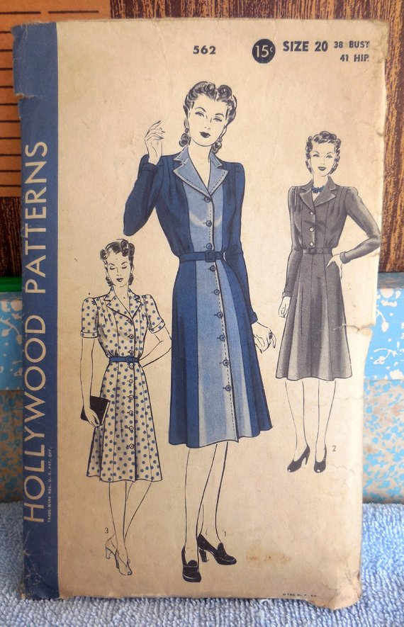 Hollywood 562 Vintage 1940s Princess Seamed Shirt Dress Color Block Fit Flare Wwii Style Dress Retro Fashion Vintage Vintage Fashion Vintage Outfits