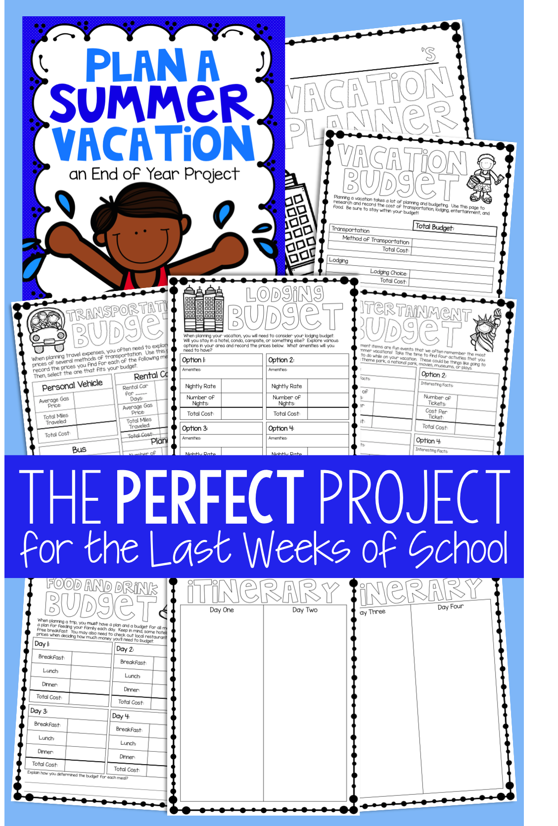 Summer Vacation Planner An End Of Year Activity Math Projects End Of Year Middle School Math