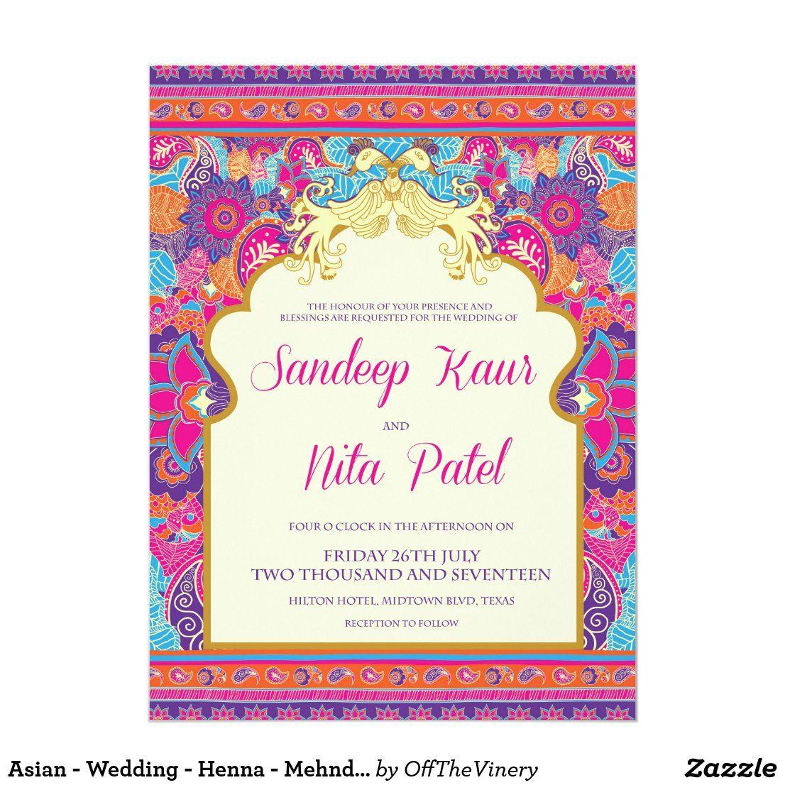 Asian Wedding Henna Mehndi Invitation Zazzle Com In 2021 Indian Wedding Invitation Cards Box Wedding Invitations Wedding Cards