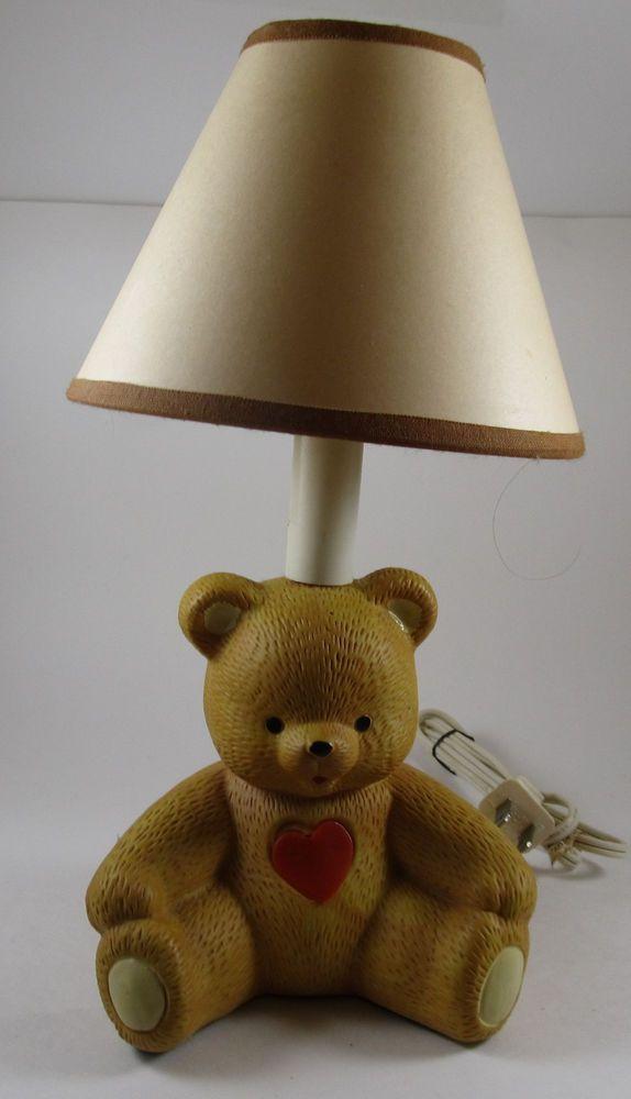 House Of Lloyd Ceramic Teddy Bear Heart Lamp Night Light Bedside