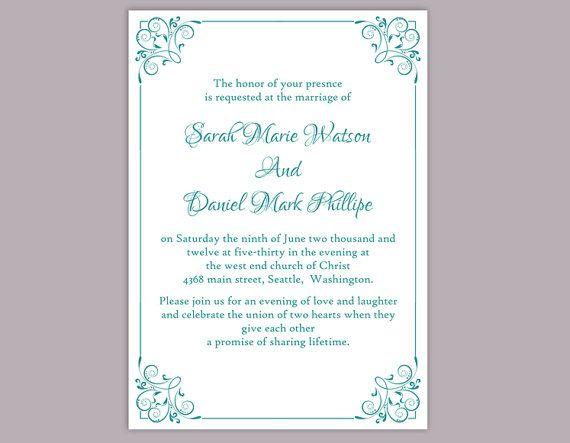 DIY Wedding Invitation Template Editable Word File Instant - free printable invitation templates for word