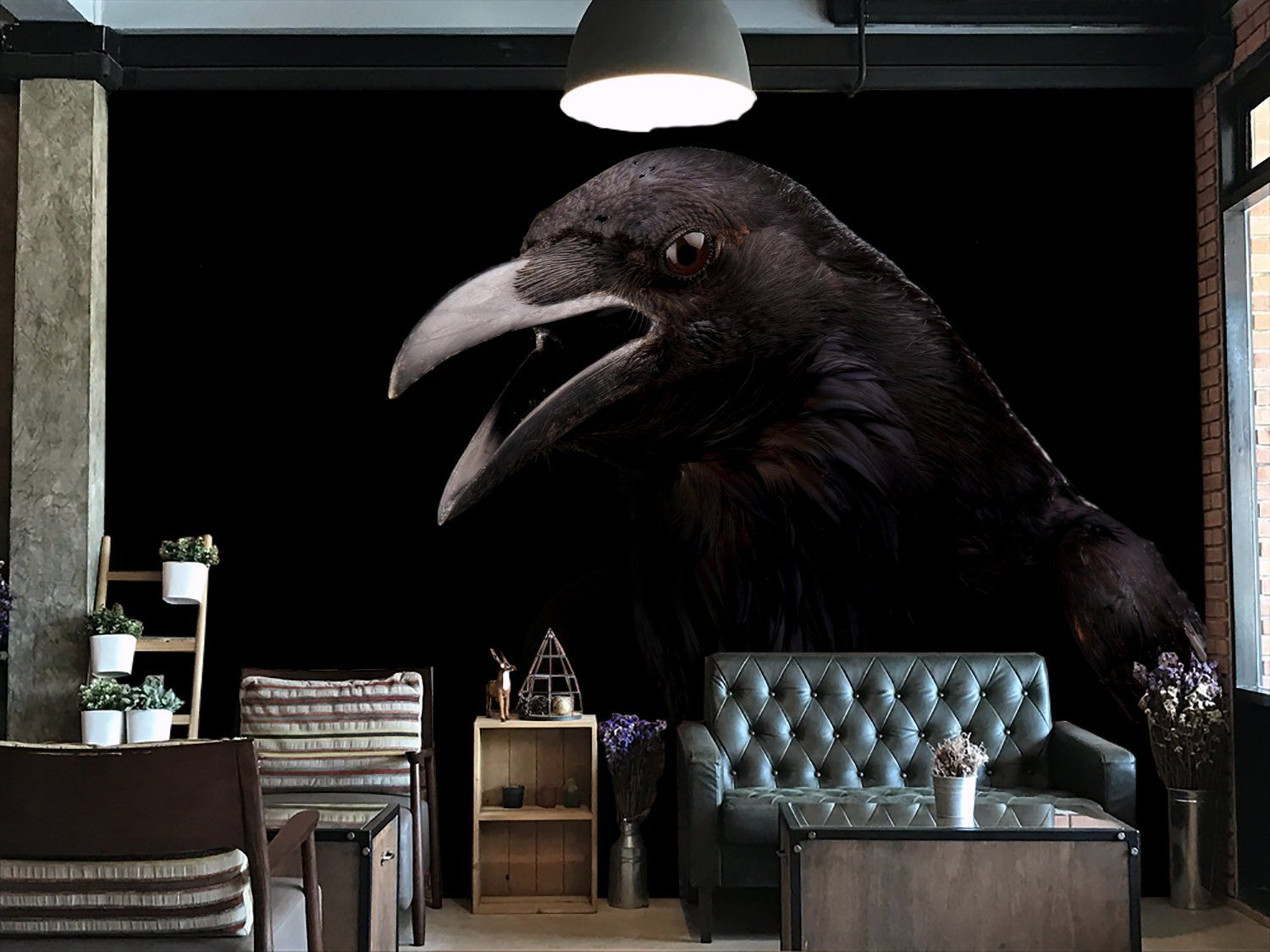 Dark black raven wallpaper,home decor,wall art,peel and