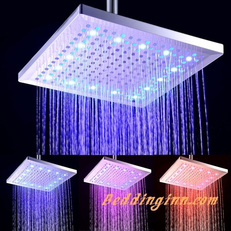 rectangular #copper #showerhead 12 Inches LED Colors-changing ...