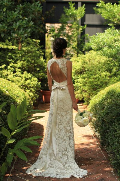 LOVE THIS DRESS: Jim Hjelm Bridal Gown Style #JH8011 designed for JLM Couture is an Ivory Alencon Lace over Champagne Charmeuse A-line formal bridal gown, sleeveless V neckline, Ivory ribbon with floral detail, open back, sweep train.