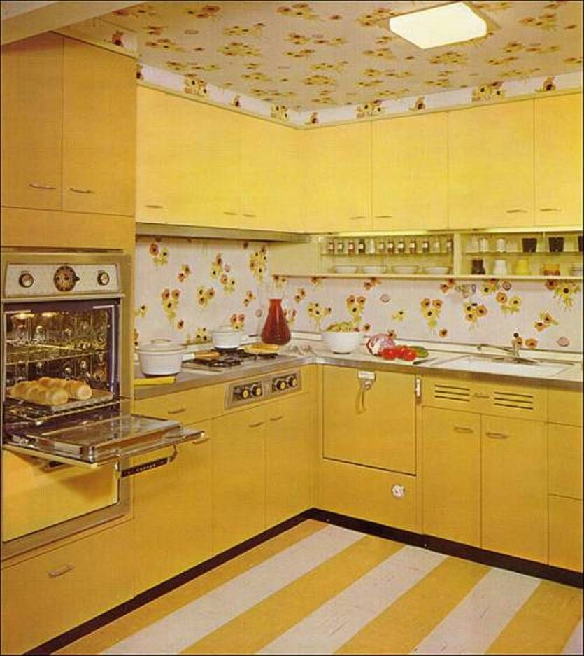 Retro Kitchen Design Style Yellow Cabinets And Floral
