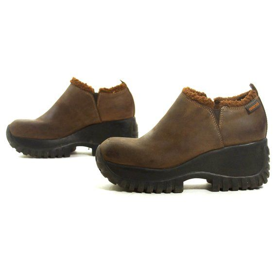 a314efe935a Platform Ankle Boots Vintage 90s Brown Leather Pull On Booties Women s Size  8