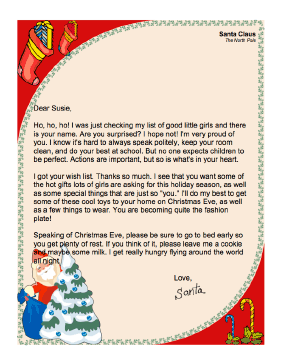 this printable letter from santa claus to a little girl thanks her