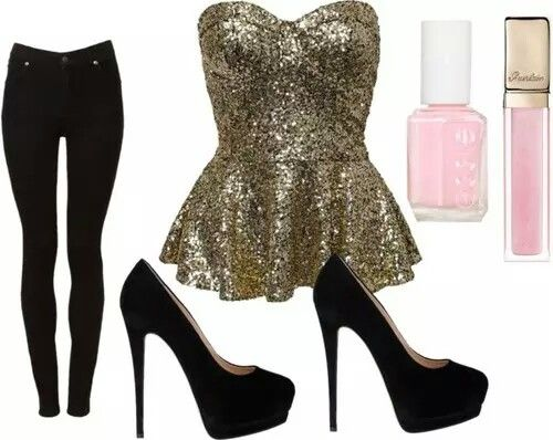 Glittery gold strapless top with black jeans. Cute outfit. Party outfit. Date outfit.