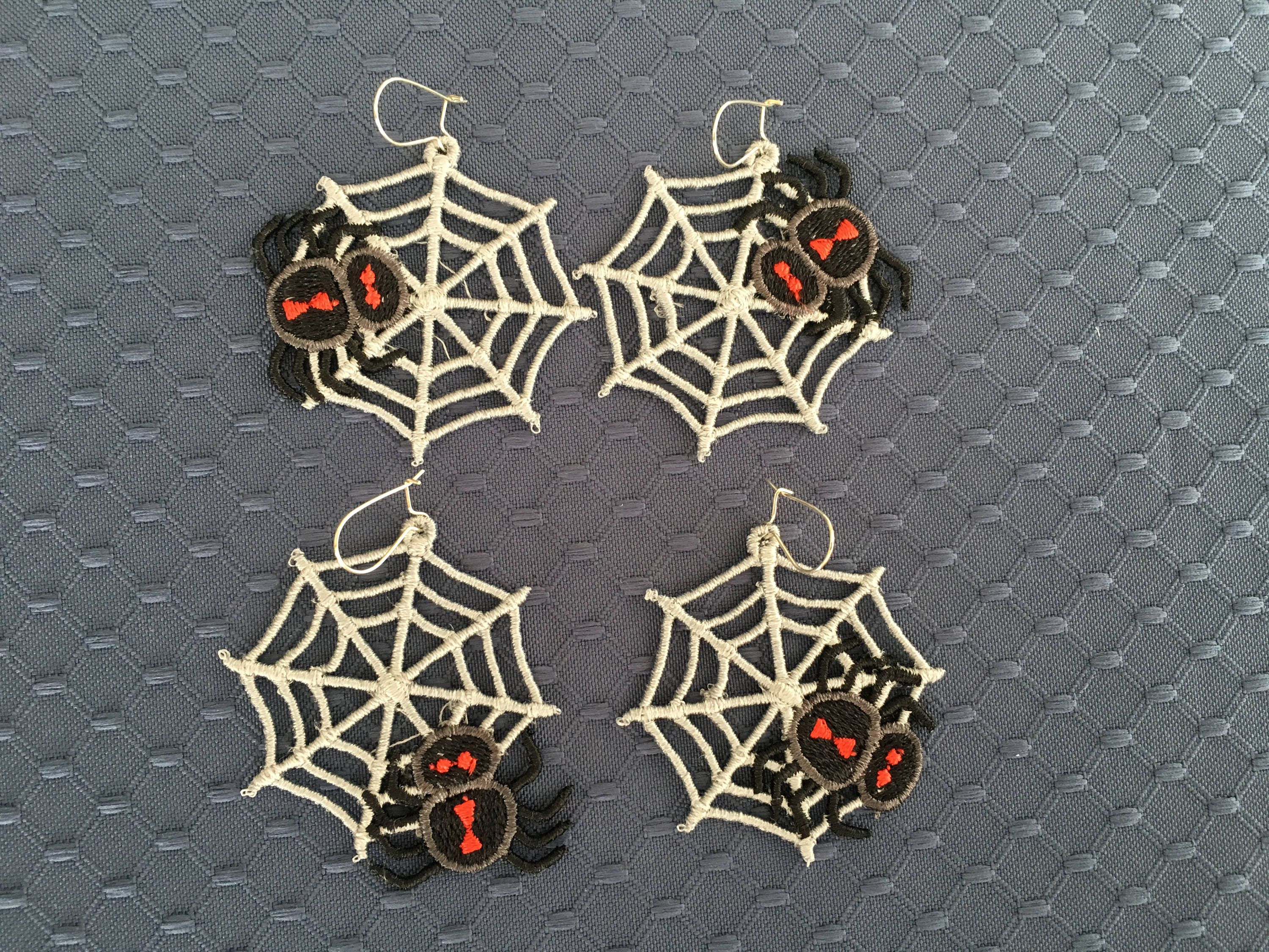 Fsl Spider Web Earrings 4 Spider Webs In A 4x4 Hoop Spider Etsy In 2020 Digital Embroidery Patterns Free Standing Lace Machine Embroidery Designs