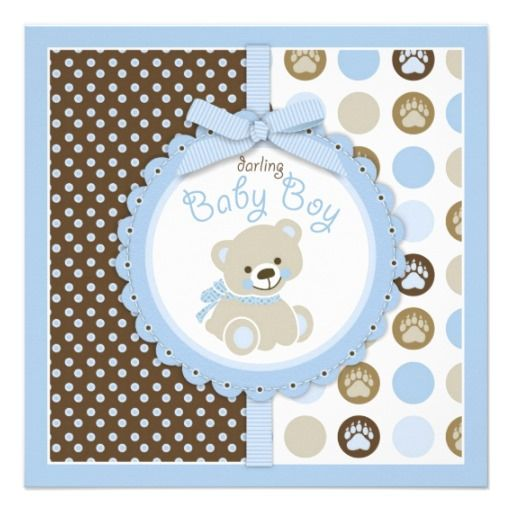 Teddy bear boy baby shower blue 2 card