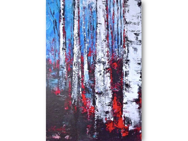Original Palette Knife Landscape Painting Contemporary Modern Art Birch Trees on Gallery Wrapped Canvas. $250.00, via Etsy.